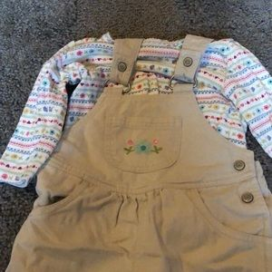Overall set with long sleeve onesie to match